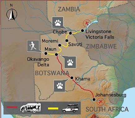 Delta Del Okavango Mapa Delta Del Okavango
