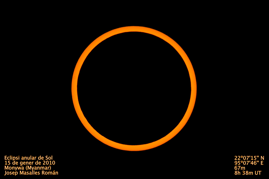 Eclipse anular en Myanmar 2010 | Foto © Josep Masalles