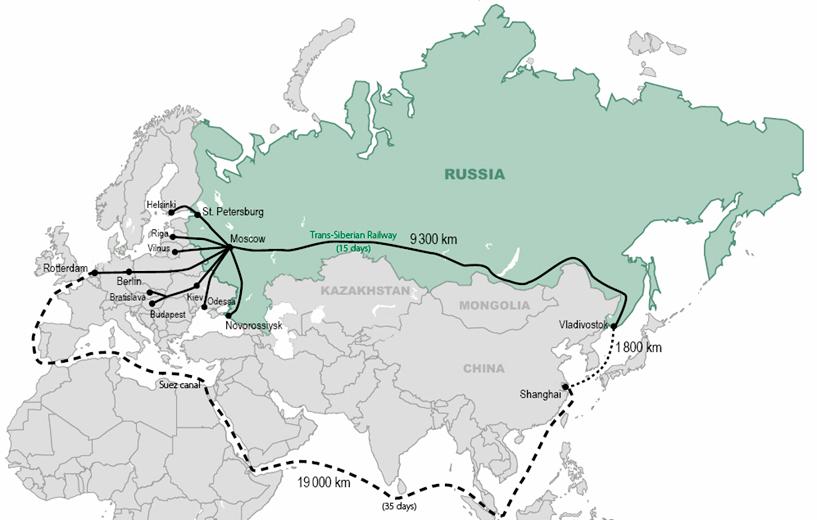 Comparativa ruta Rotterdam - Vladivostok en tren y vía marítima