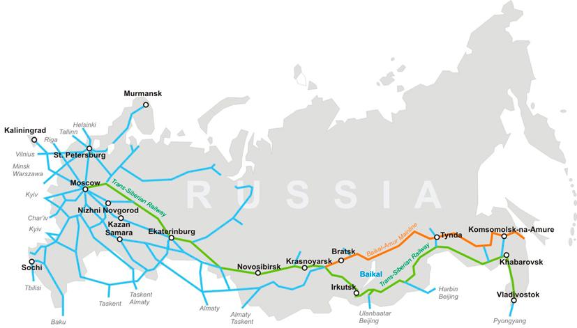 Líneas de ferrocarril en Rusia