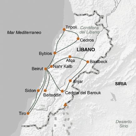Líbano + Litoral Mediterráneo, Mts. del Líbano y Valle de la Bekaa
