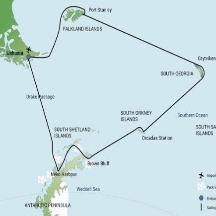 Antártida e Islas Sub-Antárticas + Islas Falkland, South Georgia y Península Antártica