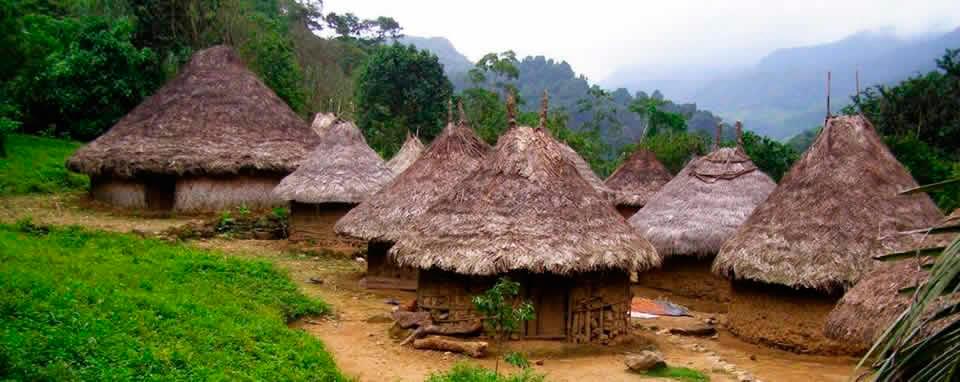 Pueblo indígena en el bosque tropical de la Sierra Nevada